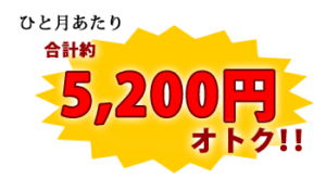 ひと月あたり合計約5200円オトク!!